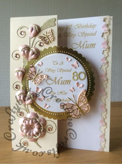 80th Birthday Card Made Using Tattered Lace Hardwick Scallop Circle