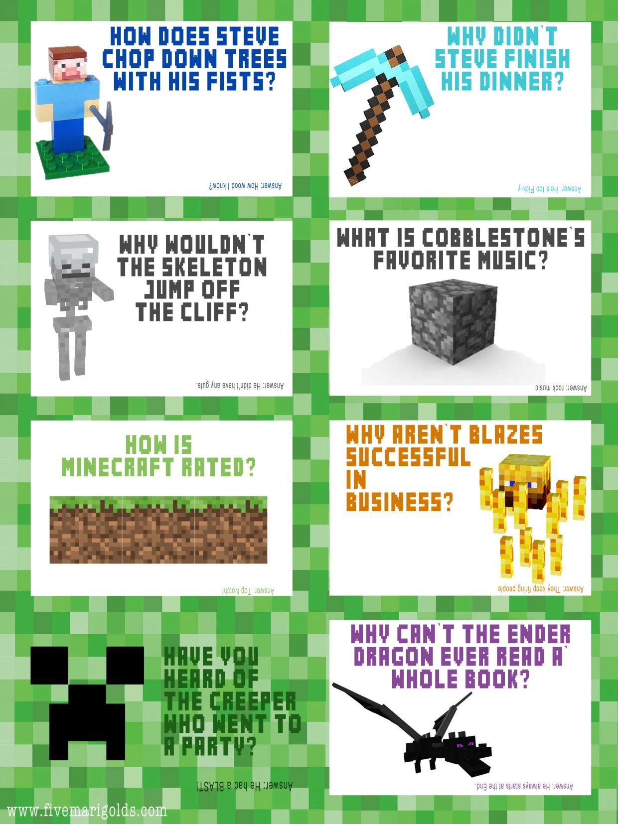 Minecraft Jokes Free Lunchbox Printables