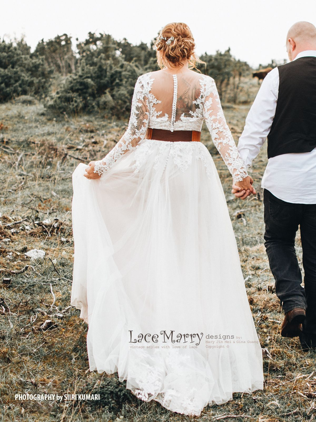 Beautiful boho style wedding dress with long lace sleeves a line