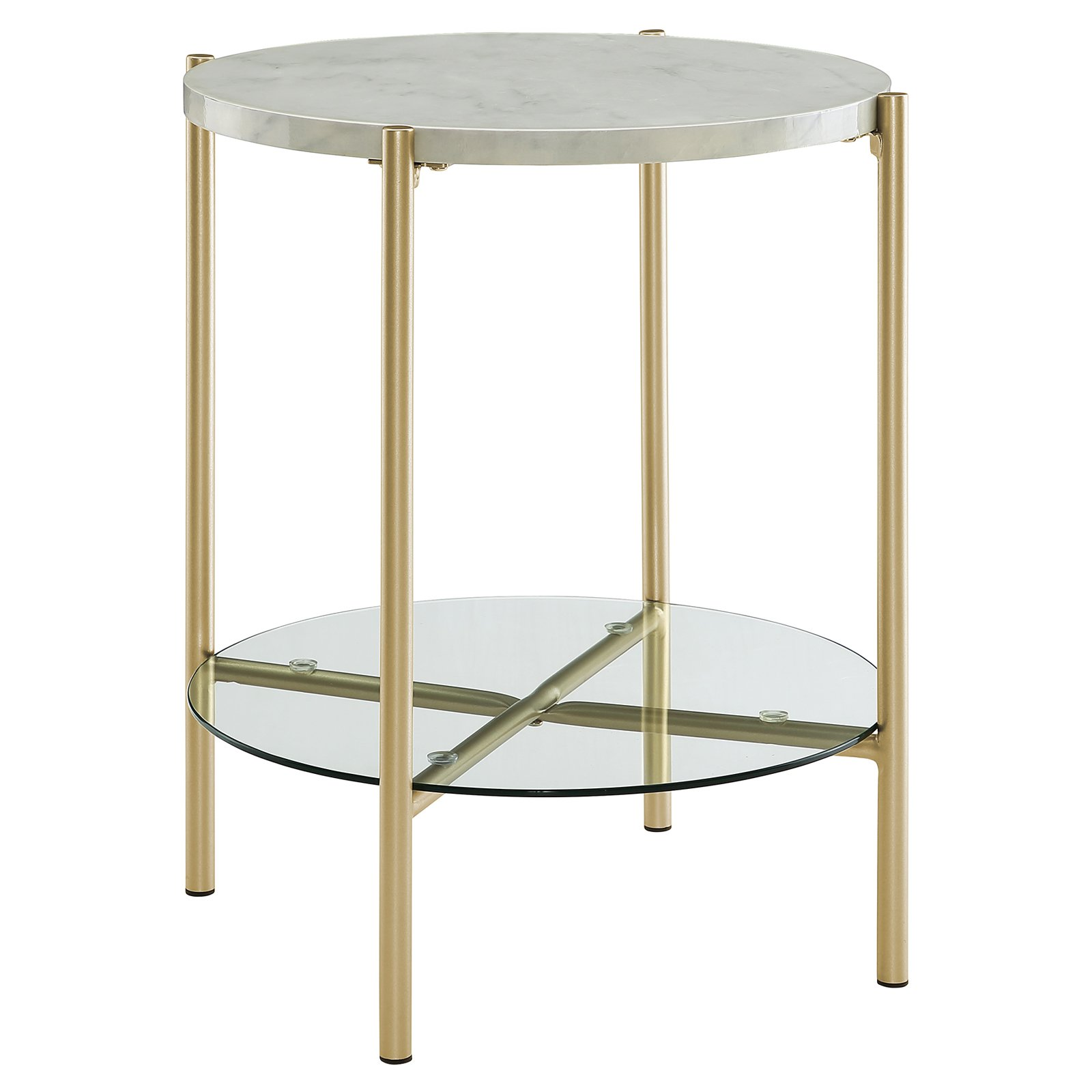 Best Manor Park Mid Century Round Marble End Table White Gold 640 x 480