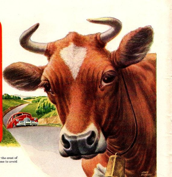 vintage cow ethyl 1946 advertisement by FrenchFrouFrou on Etsy, $12.95
