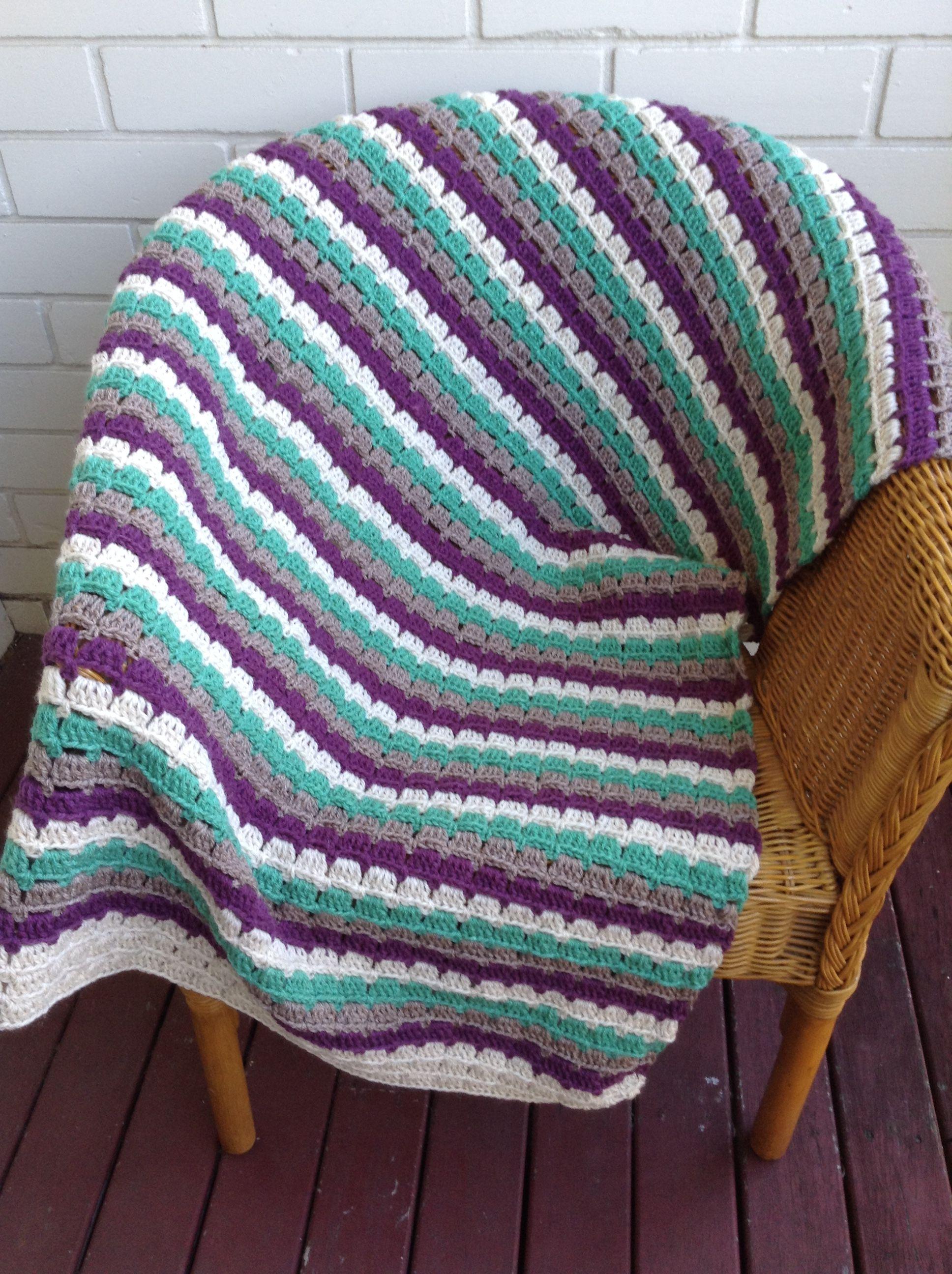Block stitch knee rug in 4 colours easy crochet blanket