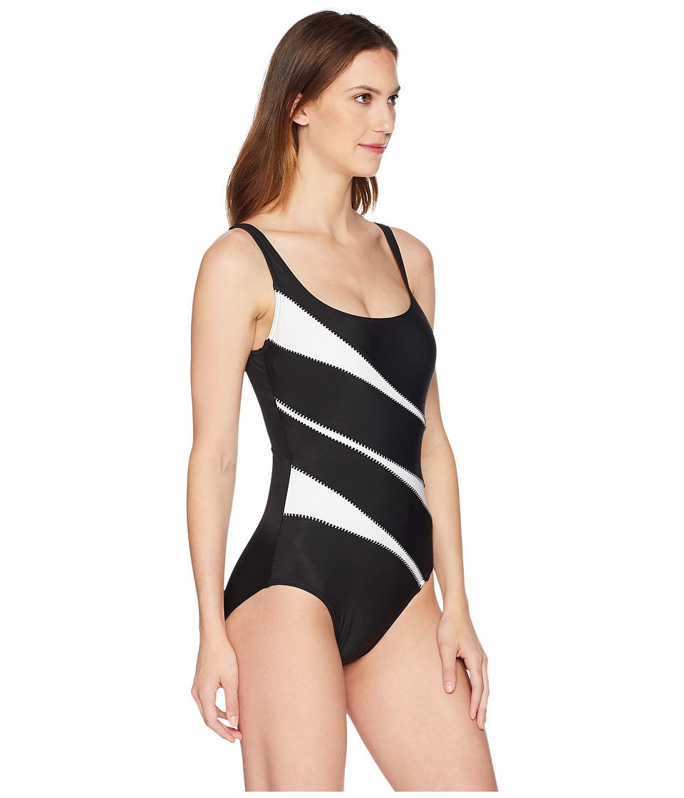b81736efbe Miraclesuit Spectra Helix One-Piece Women's Swimsuits One Piece Black/White Women  Swimsuits,