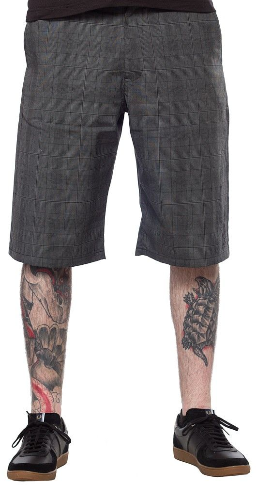 5a01709852 SULLEN STREAM WALK GRAY PLAID SHORTS Sullen can really make some good  looking shorts. These gray plaid shorts ride below the waist and the length  is below ...