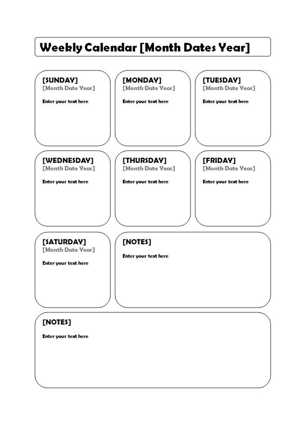 Weekly CalendarPrintable Weekly Calendar  Weekly Planner