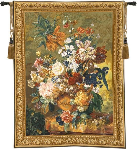 Terracotta Floral Bouquet Bright Tapestry Wall Art Hanging ...