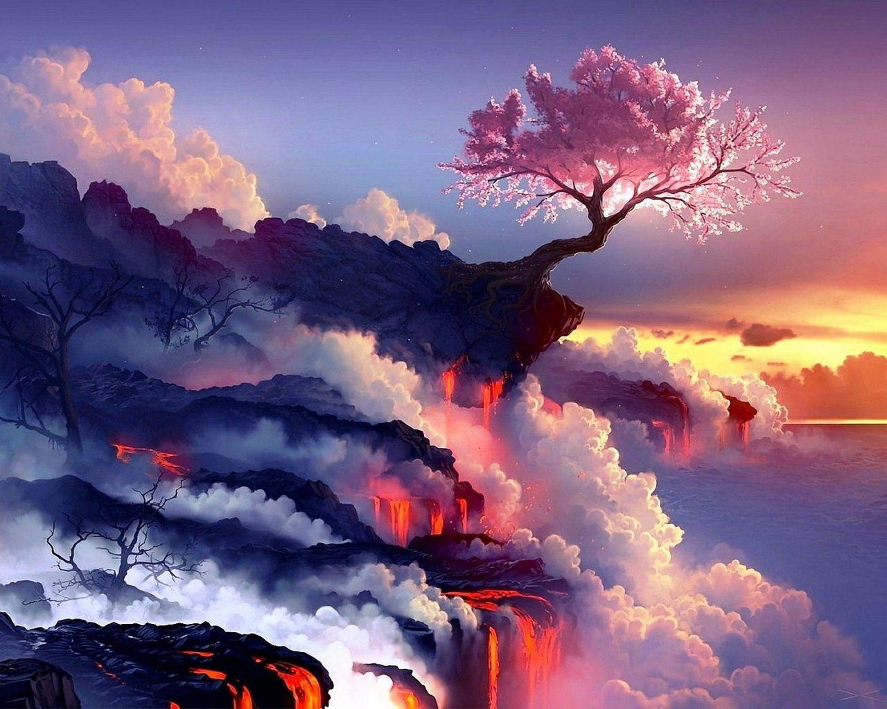 Cherry Tree Volcano Wallpaper In 1280x1024 Landscape Wallpaper Fantasy Landscape Volcano Wallpaper