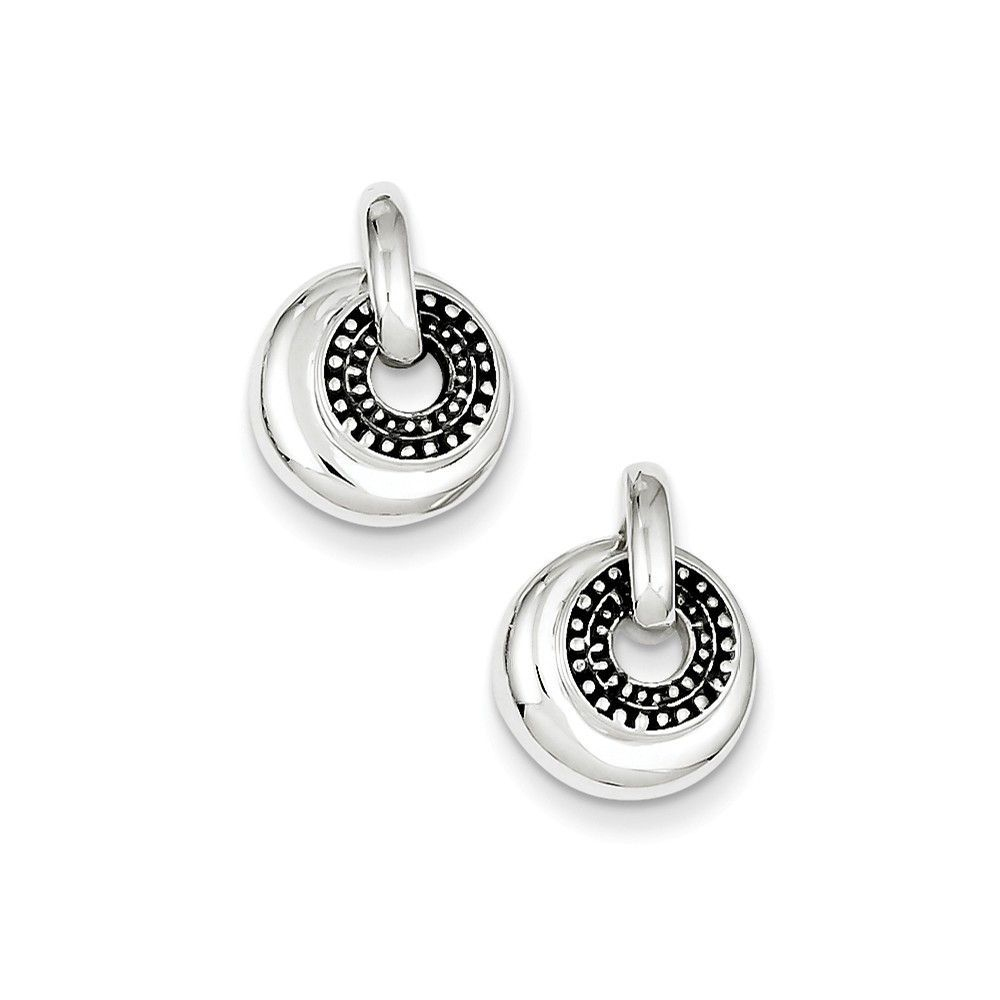 Sterling Silver Antiqued Round Dangle Earrings