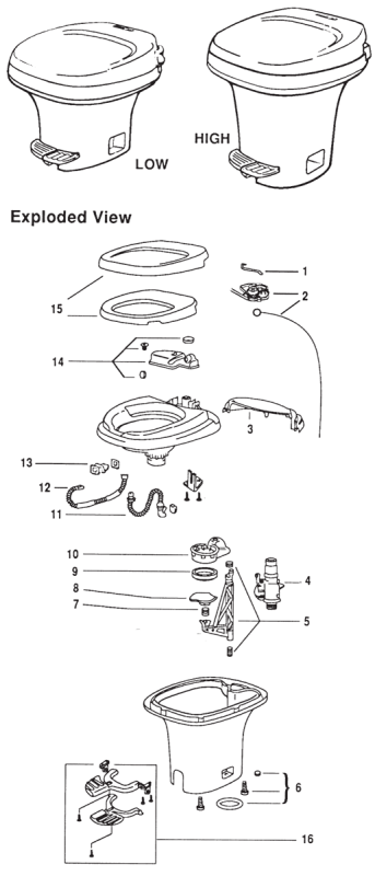 thetford aqua magic iv foot flush rv toilet repair parts diagram rh pinterest com rv toilet parts diagram rv toilet plumbing diagram