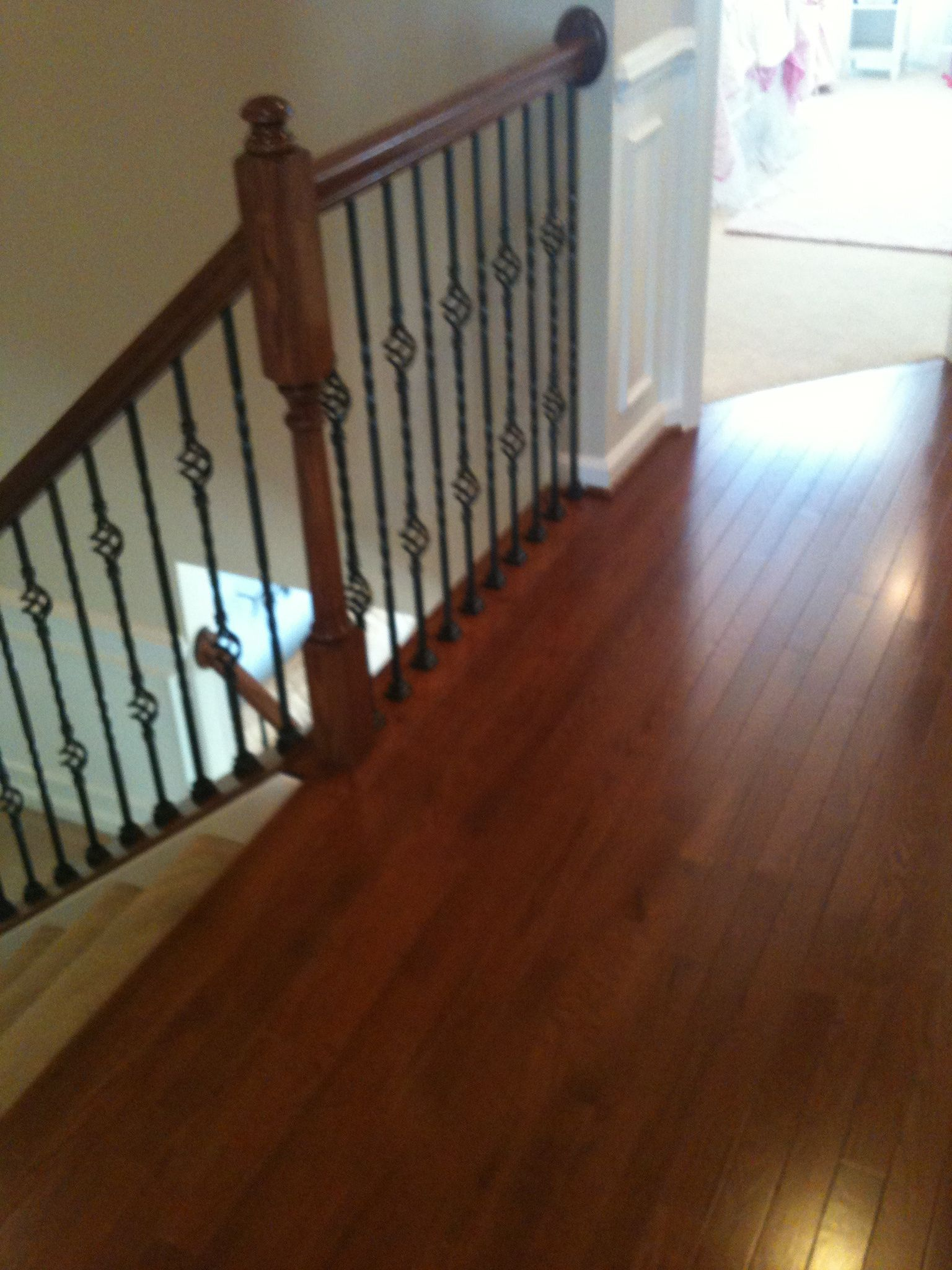 Never thought of just putting wood in the hallway and for Hardwood floors upstairs