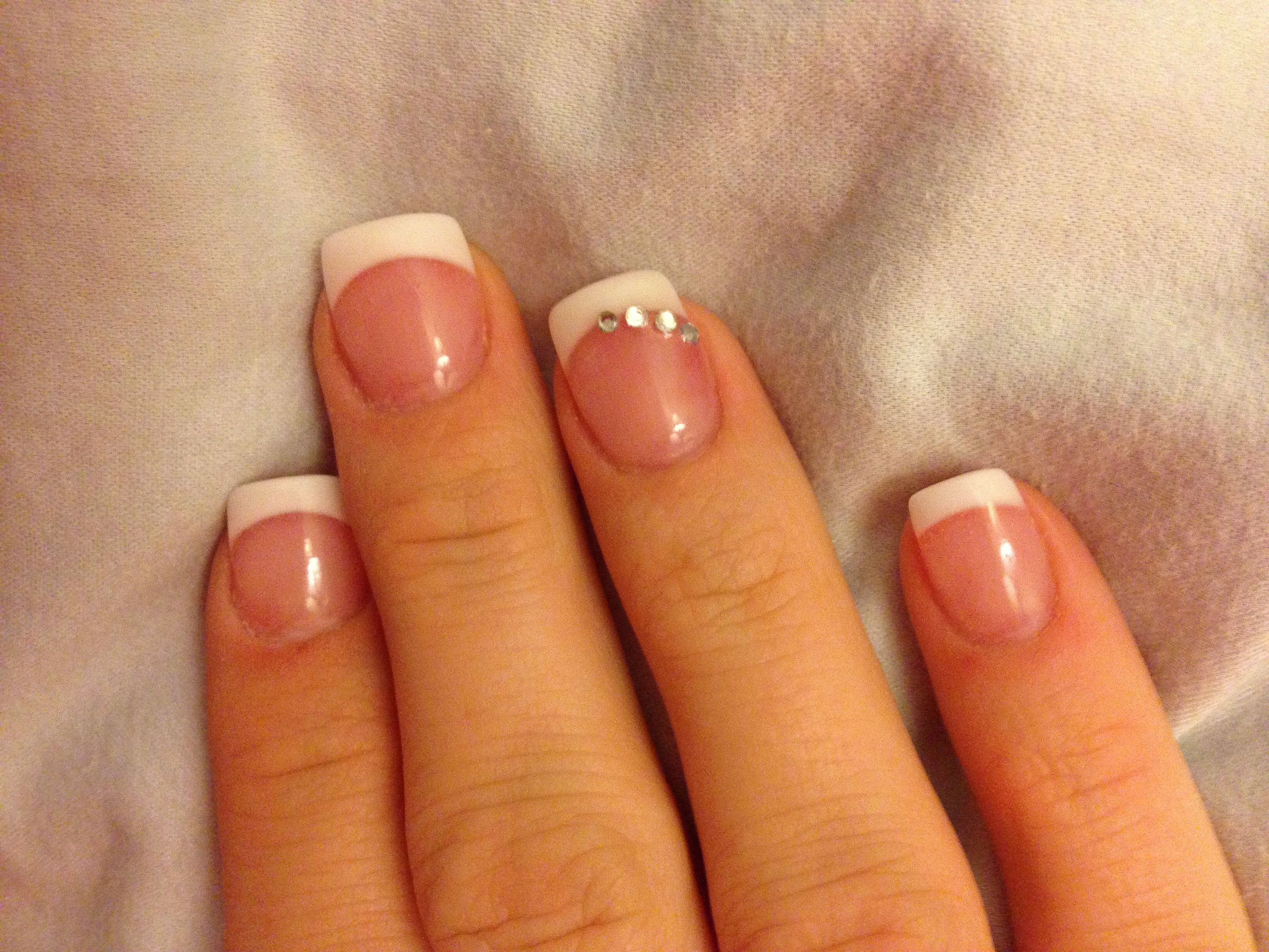 Pink and white gel nails with rhinestone design | nails | Pinterest ...