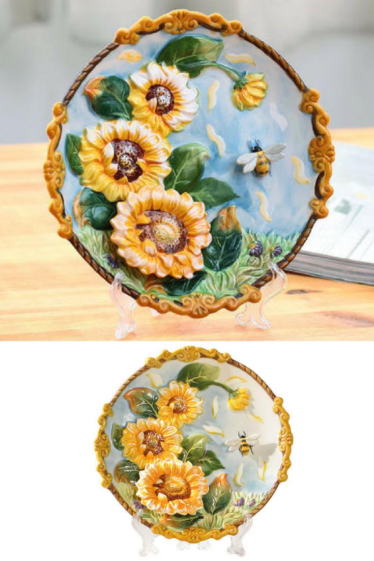 Vintage Neoclassic Art Fine Hanging Decorative Plate - Sunflower ...