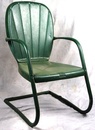 Vintage Original 1940 1950s Metal Clamshell Patio Outdoor Chair I