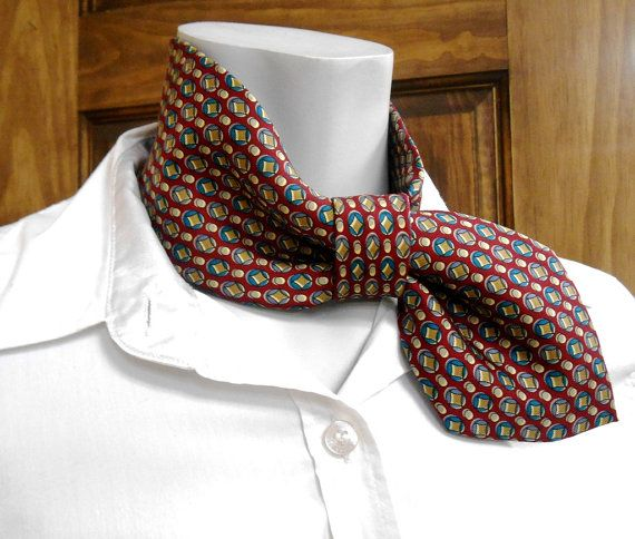 Woman ascot, necktie necklace, refashioned necktie, burgundy ...