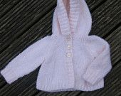 Baby girl cardigan with hood, baby shower gift, baby girl cardigan made from pale pink baby wool, age 6-12months