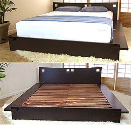 this japanese platform bed is made of 100 solid para hardwood environmentally friendly wood the frame and headboard are constructed with over an inch - Japanese Platform Bed Frames
