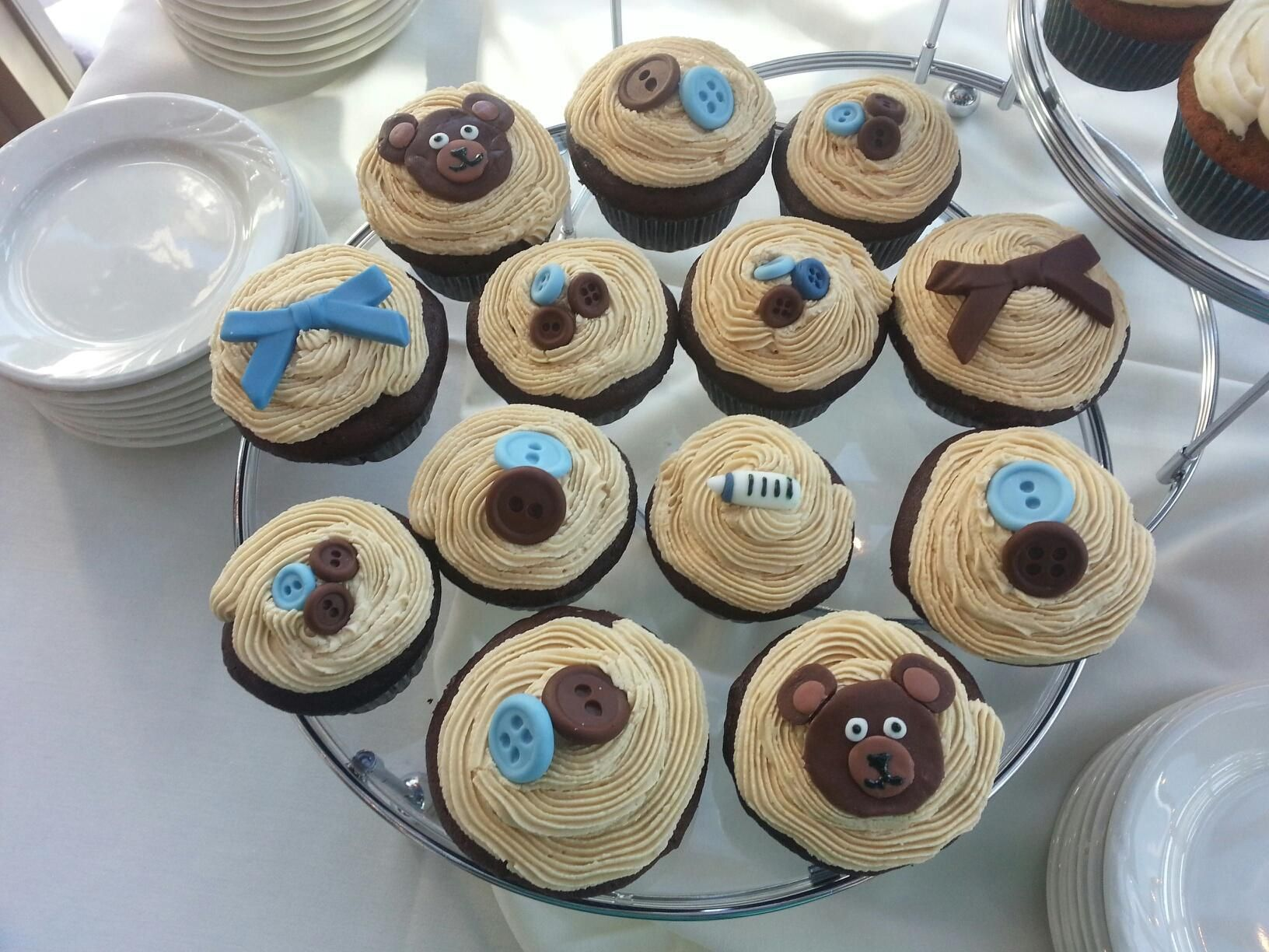Baby shower cupcakes boy bears bottles buttons bows blue
