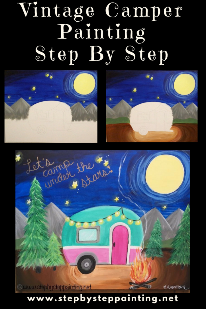 Vintage Camper Canvas Painting  Online Tutorial is part of Canvas painting tutorials, Canvas art painting, Step by step painting, Online painting, Beginner painting, Vintage camper - Learn how to paint a vintage camper on a 16  x 20  canvas with acrylic paints  This is a cute camping painting with campfire! For the absolute beginner!