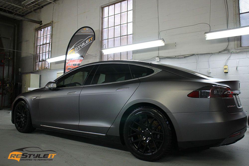 Matte Charcoal Gray Tesla Tesla Electric Car Tesla Tesla Car