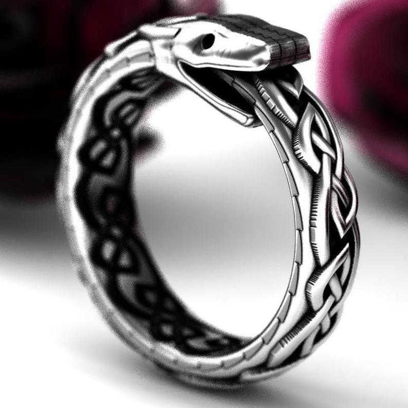 Anillo de la serpiente celta de plata esterlina anillo de