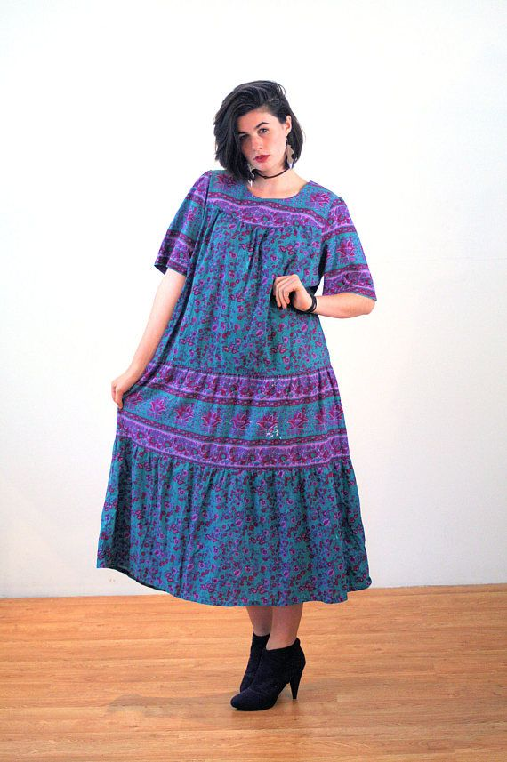Deziree, Vintage Hippie Dress XL, India Caftan, Boho Tent Dress, Teal Purple Cotton Dress, Oversized Bohemian Dress, 90s Indian Dress