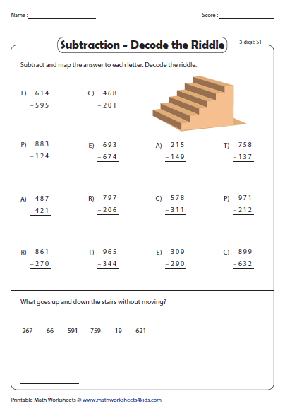 Decode The Riddle 3 Digit Subtraction Subtraction Subtraction Worksheets Math Worksheet