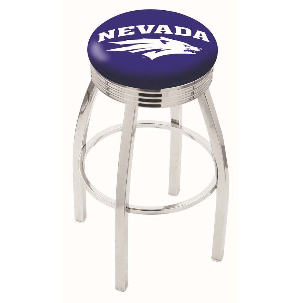 Nevada Wolf Pack Ribbed Chrome Swivel Bar Stool