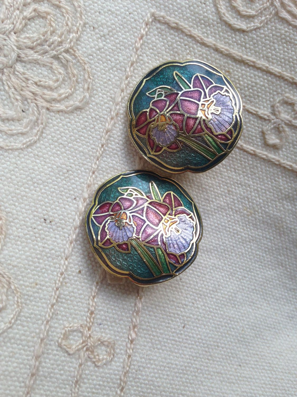 Vintage Cloisonn\u00e9 Floral Post Earrings