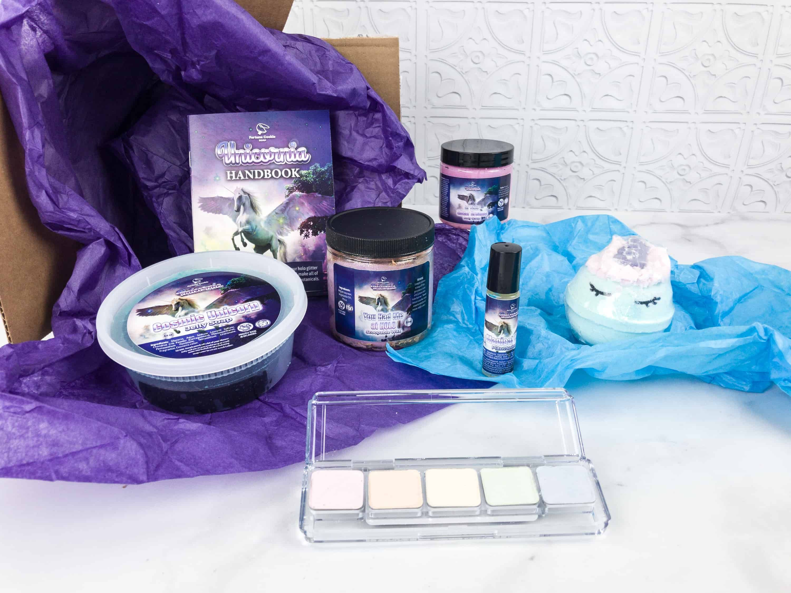 "See all the magical ""Unicorn"" bath items in the Fortune Cookie Soap FCS of the month February 2018 box review!    Fortune Cookie Soap FCS of the Month February 2018 Box Review + Coupon! →  https://hellosubscription.com/2018/02/fcs-month-february-2018-subscription-box-review-coupon/ #FortuneCookieSoap  #subscriptionbox"