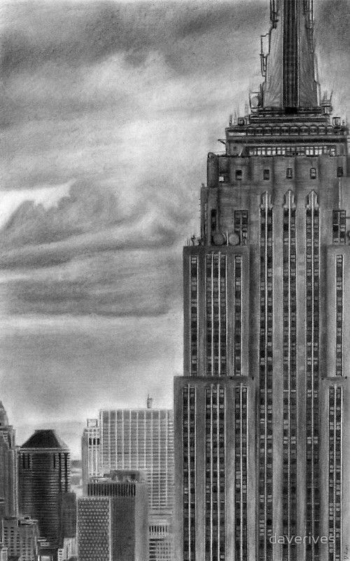 Empire State Building New York Pencil Drawing | York ...