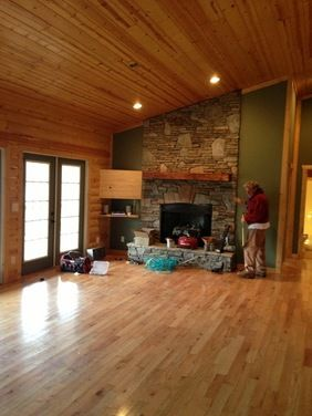 Cabin Paint Colors | Interior Paint Color For Log Cabin Style Greatroom    Houzz