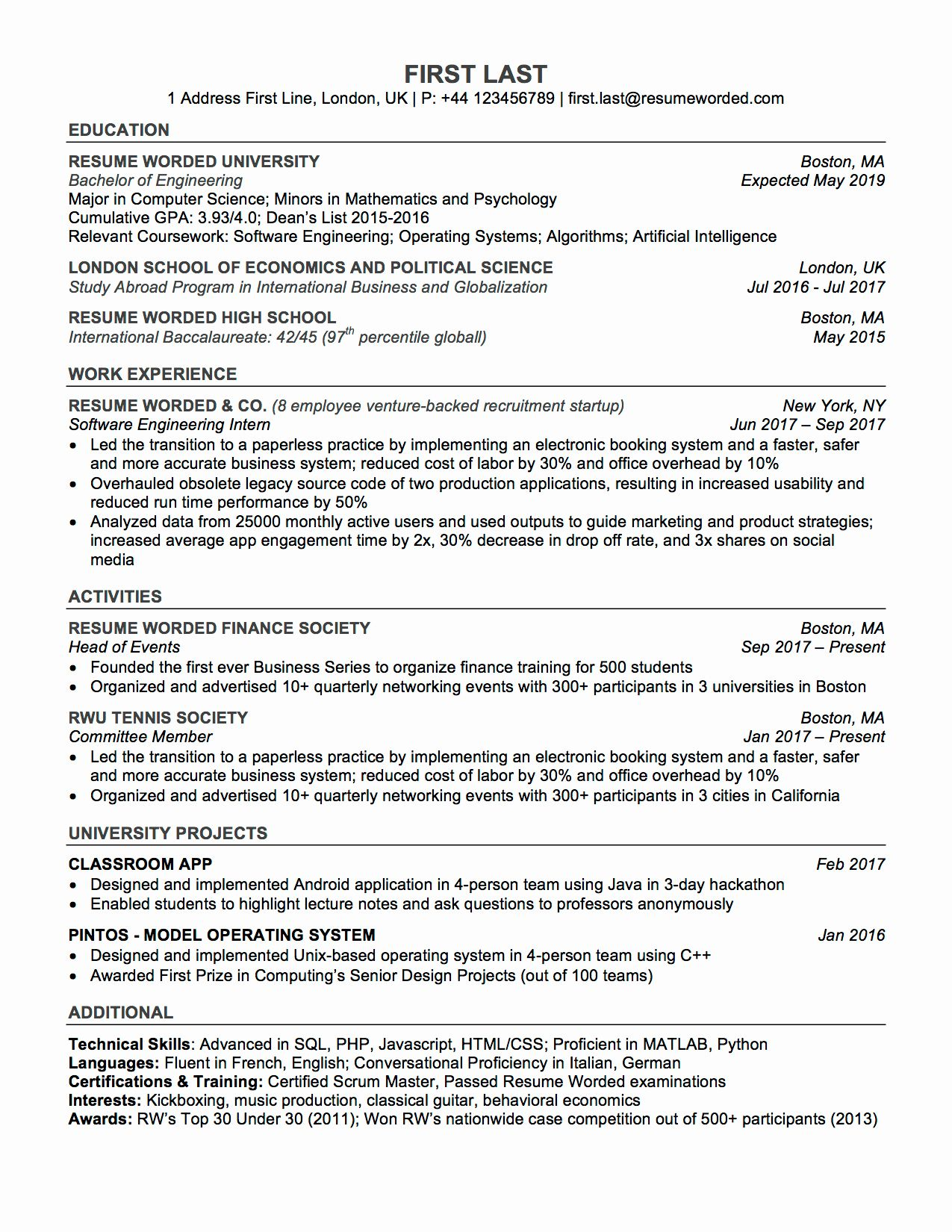 College Resume Template Download Best Of Professional ats