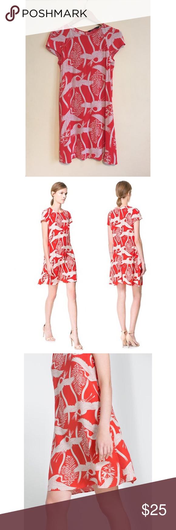 bb0ee03f Zara Printed Orange & White Crane Heron Dress Sm Beautiful Zara ...