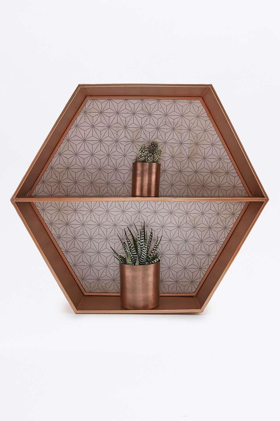 tag re hexagonale en cuivre urban outfitters salon pinterest etagere hexagonale cuivre. Black Bedroom Furniture Sets. Home Design Ideas