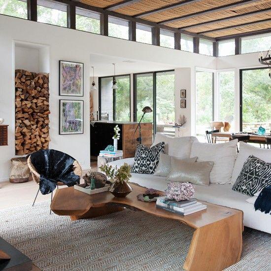 Weiss Offene Wohnzimmer Mit Holz Wohnideen