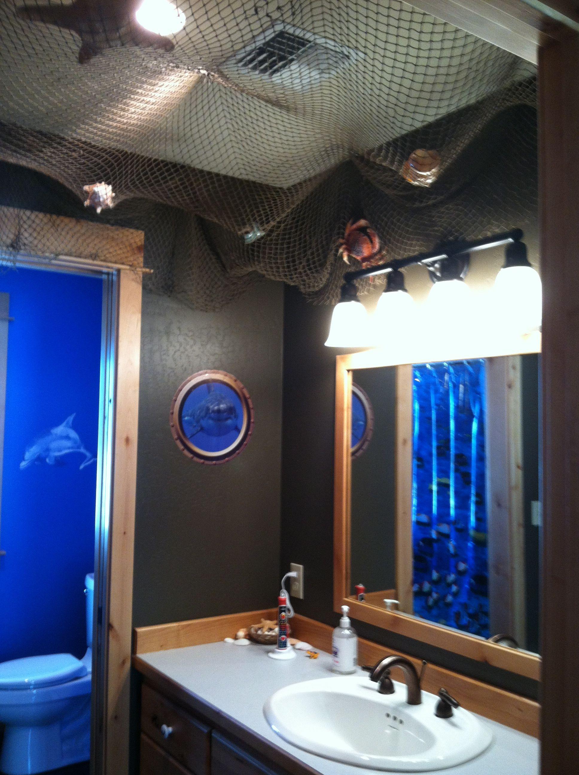 Entrance to kids new ship underwater bathroom creative for Ocean themed bathroom sets