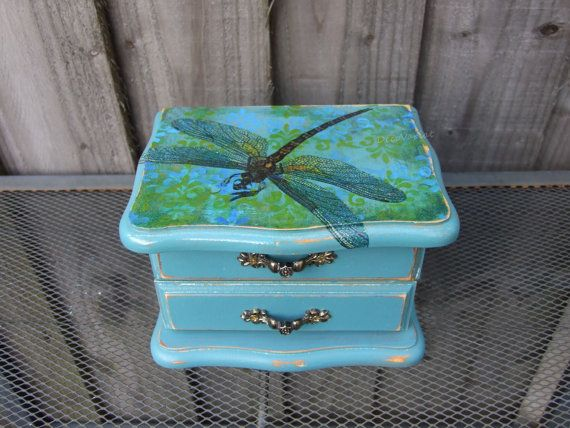 Vintage jewellery box jewellery box with mirror and a drawer