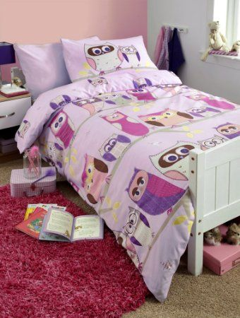 Kids Hoot Owl Duvet Cover Set Lilac, Pink, Double Bed: Amazon.co ... : owl double bed quilt cover - Adamdwight.com