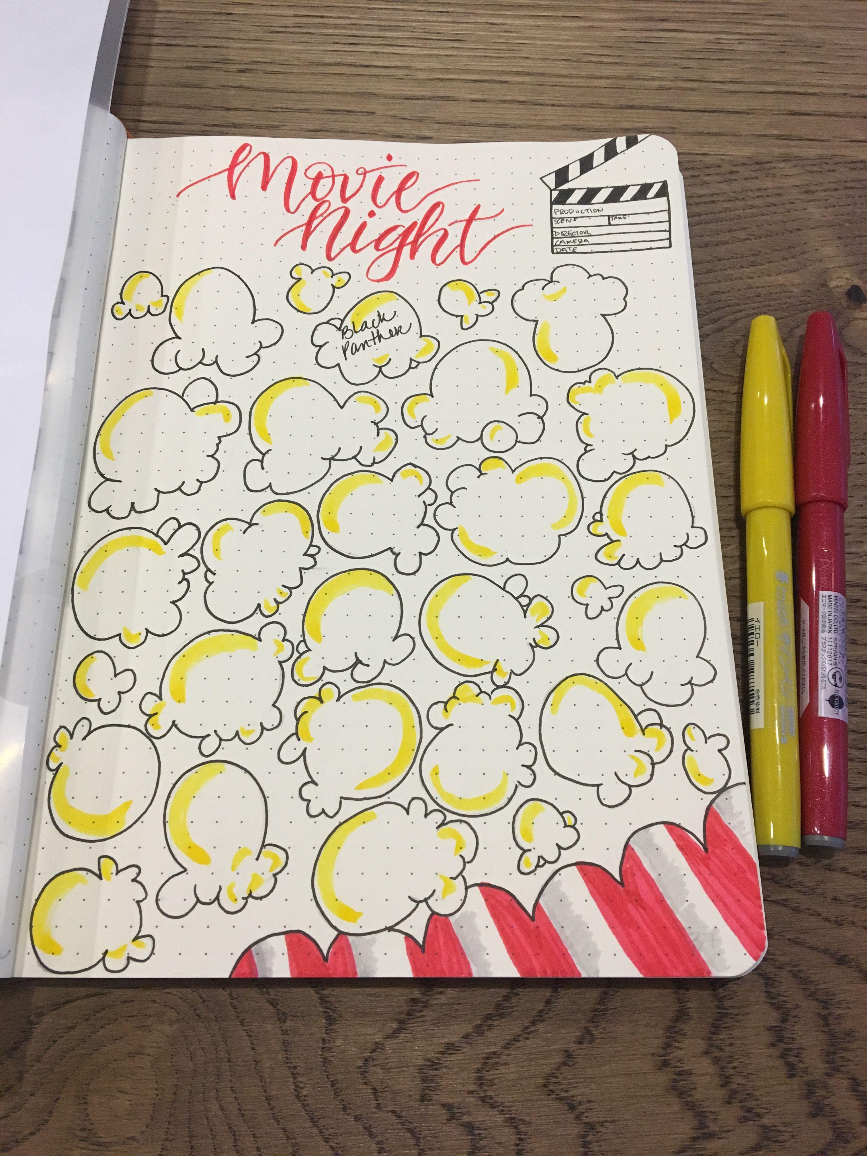 Movie Night Popcorn Bullet Journal Tracker Inspiration