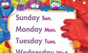 طريقة حفظ ايام الاسبوع بالانجليزي للاطفال Labels Monday Sunday