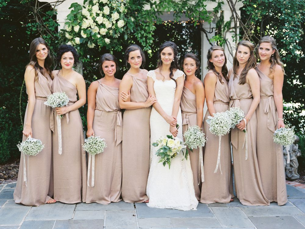 One shoulder bridesmaid dresses in a soft neutral hue from Bella ...