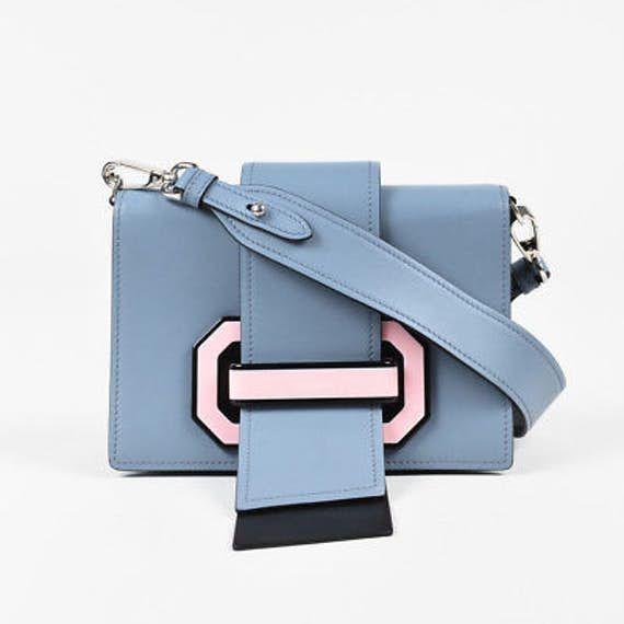 74baff49de42 Prada Light Blue Pink City Calf Leather