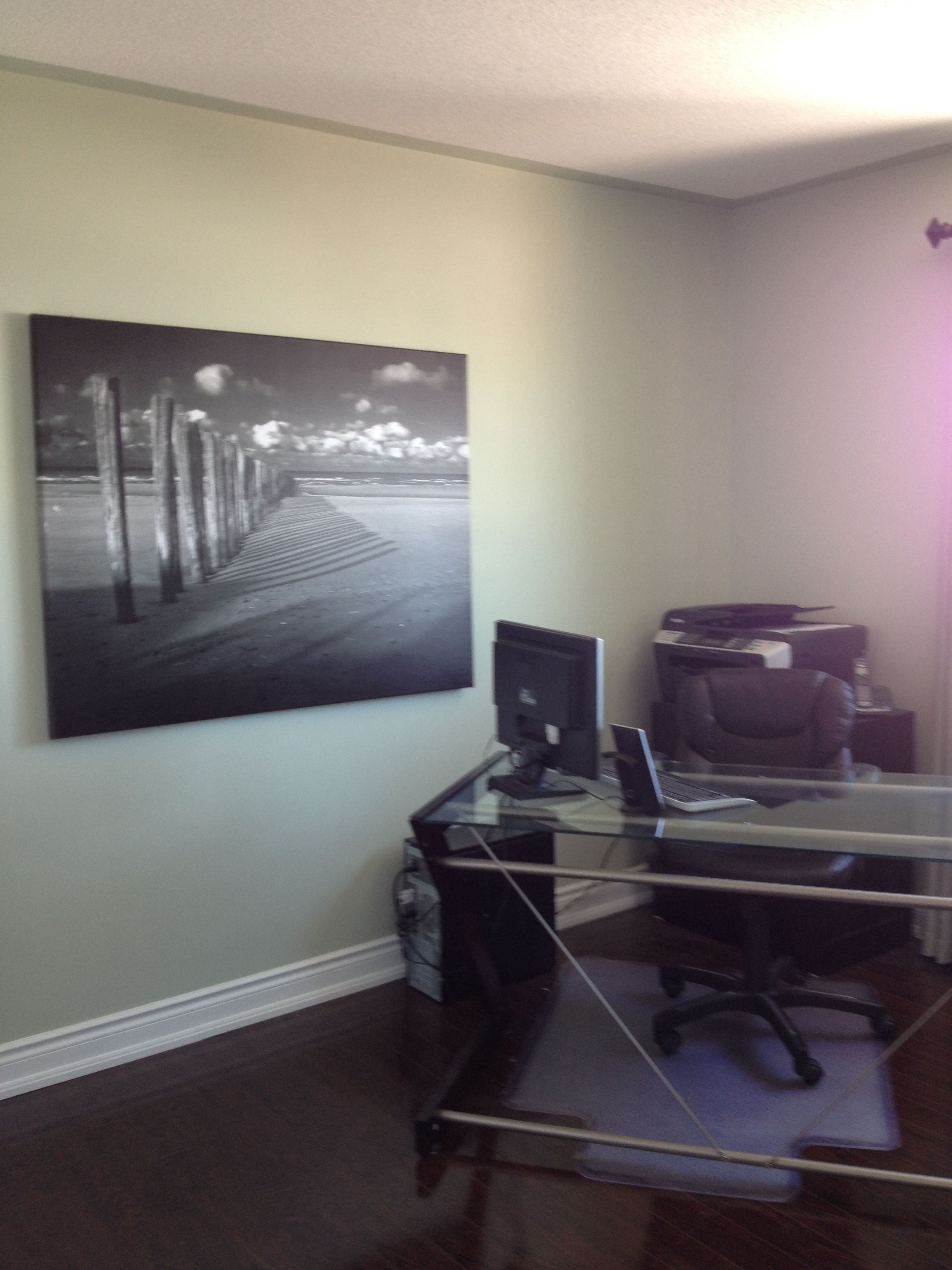 Staging an office space? My secret is to angle the desk - creates more space and adds interest to the room.