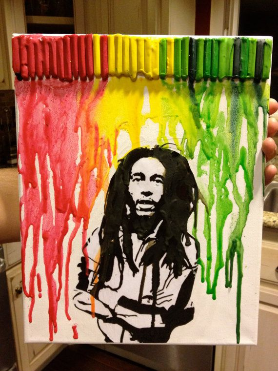 Bob marley melted crayon art love this only on for Cuadros bob marley