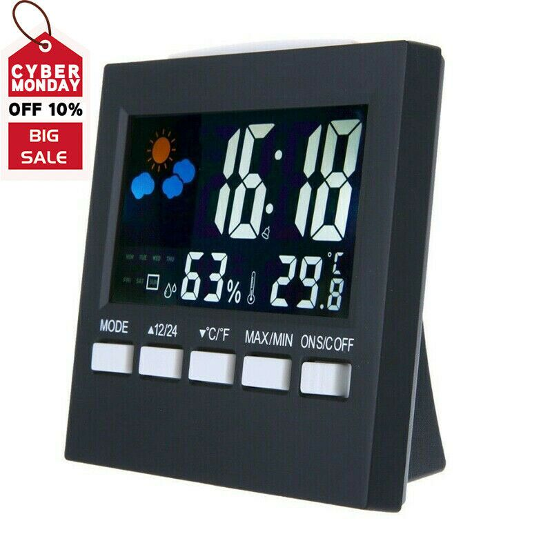 Colorful Alarm Calendar Weather Digital Lcd Display Humidity Thermometer Clock T Clock Ideas Of Clock Clock Colorful Alarm Calendar W In 2020 Alarm Clock Clock Projection Alarm Clock
