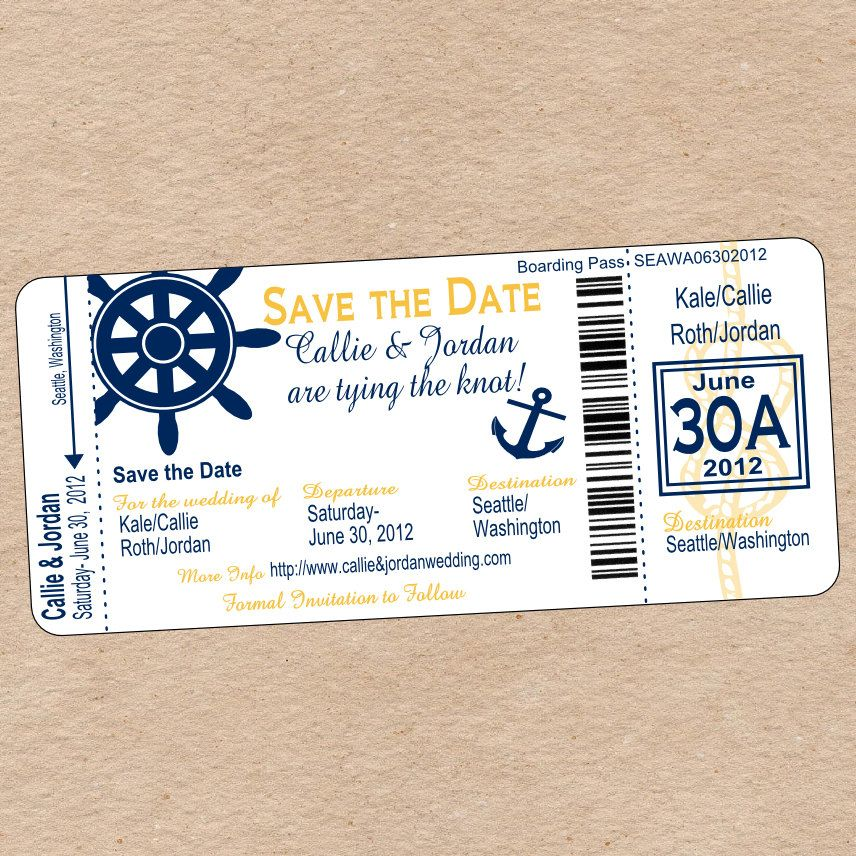 Nautical Boarding Pass Save the Date or Wedding Invitation - DIY - best of invitation template boarding pass