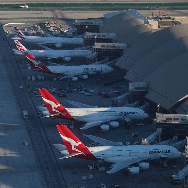 An all Australian airlines lineup at LAX  ✈ | Follow civil aviation on AerialTimes. Visit our boards on Pinterest at pinterest.com/aerialtimes or like us on www.facebook.com/aerialtimes