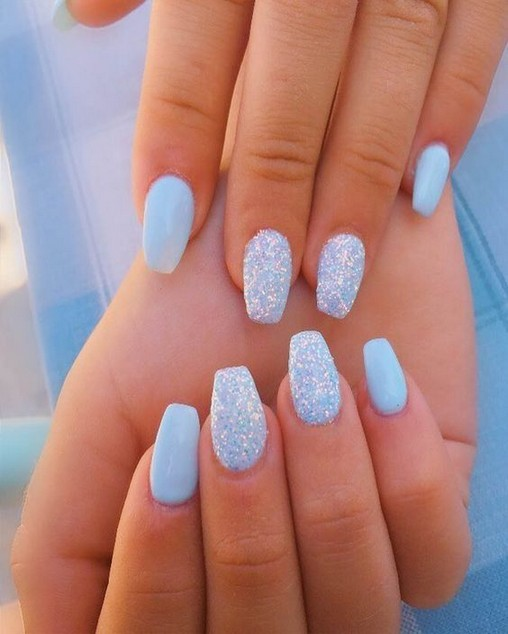 96 Simple Short Acrylic Summer Nails Designs For 2019 You Must Try 36 Elroystores Com Blue Acrylic Nails Sky Blue Nails Short Acrylic Nails