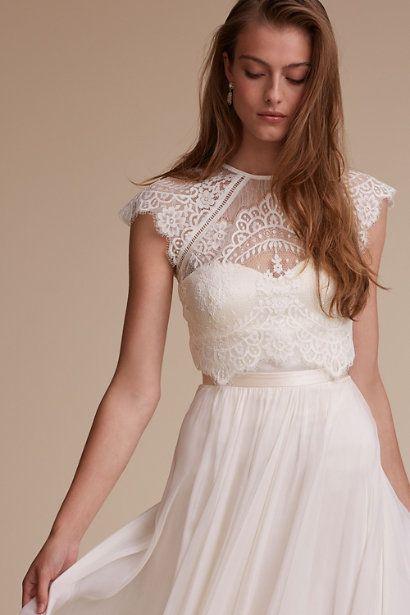 Itala Topper In Bride Bridal Separates Tops Bhldn Dress Topper Wedding Dress Topper Wedding Dress Separates