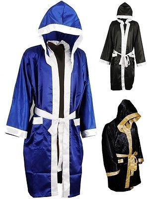 Maxx Sports NEW MENS//WOMENS HOODED SATIN BOXING CONTEST ROBE MUAY THAI BOXING KICK BOXING 4 COLOURS Black//White, Large